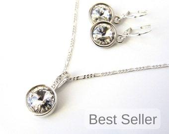 Bridesmaid Gift, Bridesmaid Necklace Set, Swarovski Crystal Necklace & Earring Set, Sterling Silver, Bridesmaid Necklace Bridesmaid Earrings
