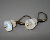 Moonstone Earrings with Antique Brass leverback Wires Handmade
