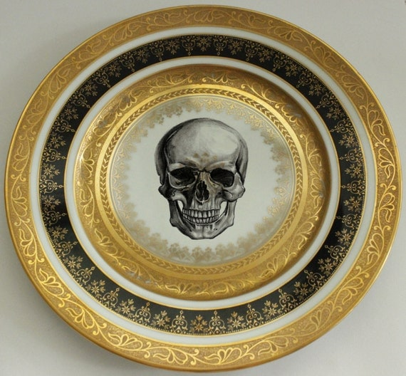 Black and Gold Vintage Skull Dinner Plate 10.5  Ste&unk Dishes Skull Dinnerware & Black and Gold Vintage Skull Dinner Plate 10.5