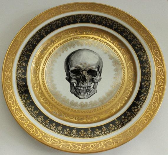 Black and Gold Vintage Skull Dinner Plate 10.5  Ste&unk Dishes Skull Dinnerware & Black and Gold Vintage Skull Dinner Plate 10.5