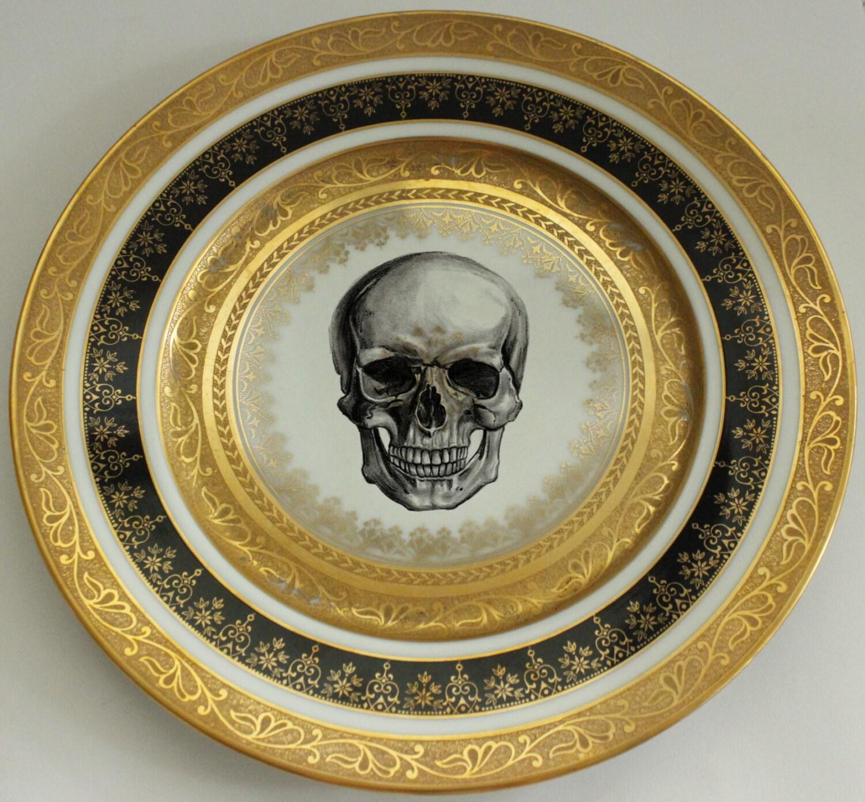 Black and Gold Vintage Skull Dinner Plate 10.5\  Ste&unk Dishes Skull Dinnerware Goth Plates Black Gold Dinnerware Customizable & Black and Gold Vintage Skull Dinner Plate 10.5\