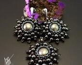 Beadwork,bead embroidery,beaded jewelry set with silver,pyrite ,hematite and toho beads