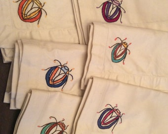 RESERVED - Hand-Embroidered Scarab Napkin Set