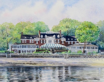"""Custom Home Painting, House Portrait, Original Watercolor 8""""x10""""-Anniversary Gift-Wedding Parent Gift-Housewarming Gift-Gift for Wife"""
