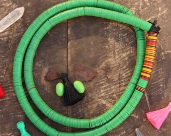 Fresh : Green Vintage African Vinyl Record Disc Beads,  10mm Necklace or Jewelry Making Supplies, Tribal Boho Fashion, Heishi Disc Beads
