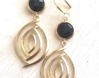 Black and Gold Dangle Earrings. Statement Earrings. Jewelry. Drop Earrings. Dangle Earrings. Gift for Her. Black Earrings. Jewelry.
