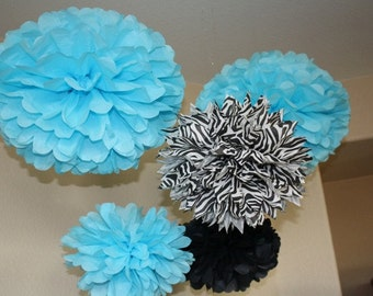 Tissue Paper Pom Poms - Set of 10 Poms- Your Color Choice- SALE - Turquoise blue Zebra and Black  - First Birthday  - Bachelorette Party