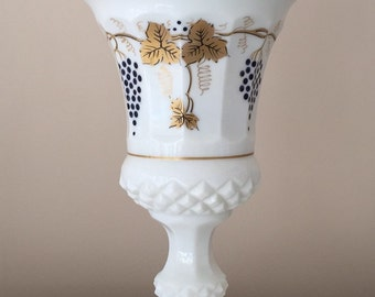 Westmoreland Milk Glass Waterford Urn with Gold Leaves and Blue Grapes Decoration