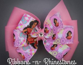 Princess Elena Bow, Princess Elena of Avalor, Elena Bow, Elena Costume, Elena Hair Bow, Pink Elena Bow, Princess Elena Boutique Hair Bow,