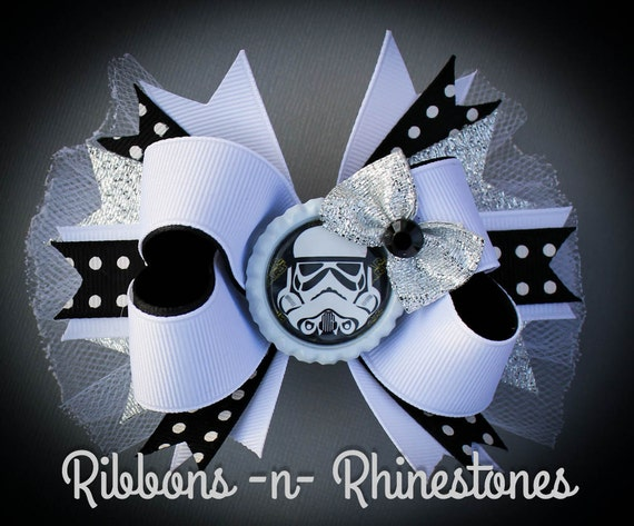 star wars boutique hair bow storm trooper by rnrshairbowsandmore. Black Bedroom Furniture Sets. Home Design Ideas
