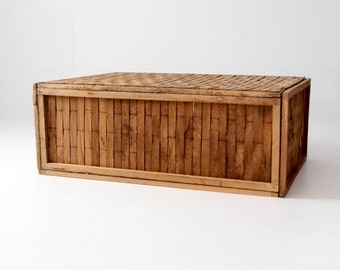 SALE large shipping crate, vintage wood slat box, storage container