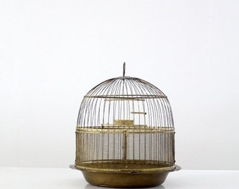 SALE antique Hendryx brass bird cage, decorative birdcage