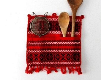 1950s southwestern kitchen textile, kitchen pocket, wall hang, utensil holder, pot holder