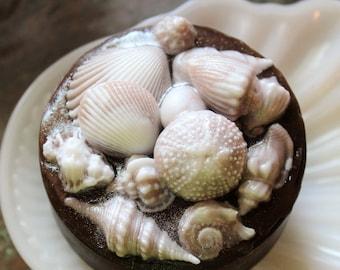 SHELL SOAP, Beach Soaps, Sea Shells, Moisturizing Vegetable Based Pocket Full of Shells Soap Scented in Sea Spray Stocking Stuffer