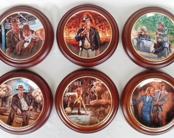 Indiana Jones & The Last Crusade Harrison Ford 6 Delphi Collector Plates By Victor Gadino In Wooden Frames EXCELLENT CONDITION Ready To Hang