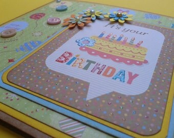 Birthday card girl boy yellow and light blue