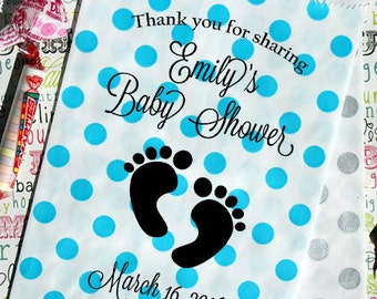 "75 Custom Printed Polka Dot Baby Shower Favor Bags, ""Thank You For Sharing... Baby Shower - Date"",  Baby Candy Bags, Popcorn or Cookie Bags"