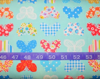 Cosmo. Butterflies Aqua (Oxford Cloth) - Cotton fabric bty - Choose your cut