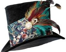 Tall Black Top Hat Vivid Allure Steampunk Gypsy Victorian Gentleman Mens Teal Paisley
