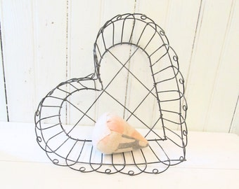 Heart Wire Basket -- Vintage French Style Open Basket