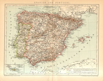 1895 Original Antique Map of Spain and Portugal