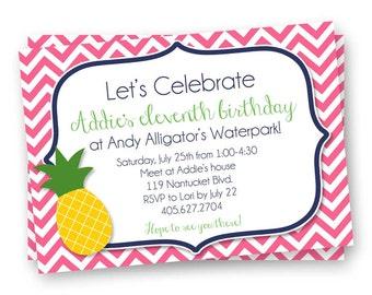 Summer Party Invitation, Pineapple Invitation, Summer Birthday Invitation, Chevron Invitation, Navy and Yellow Invitation