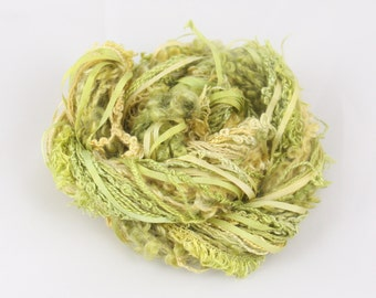 Moss Green Gold Silk sewing Thread Silk ribbon embroidery Hand Dyed Variegated quilting thread weaving yarn fibre art embellishment