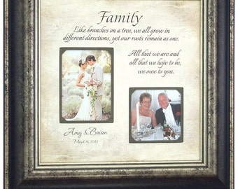 Wedding Sign, Personalized Picture Frame, Wedding Gifts Parents, FAMILY LIKE BRANCHES, Father of The Bride, Mother of The Bride, 16 X 16
