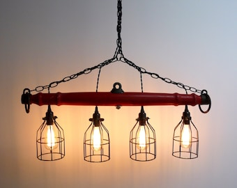 Red Rustic Industrial Yoke Chandelier, Modern Lighting, Four Light