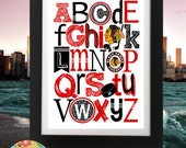 CHICAGO BLACKHAWKS ABC nursery art print...