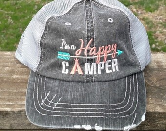 I'm A Happy Camper Embroiderd Trucker Hat