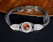 multi strand sterling silver bracelet Amber bangle artisan bracelet, Etruscan style bangle oxidized chains bracelet, amber jewelry, rustic