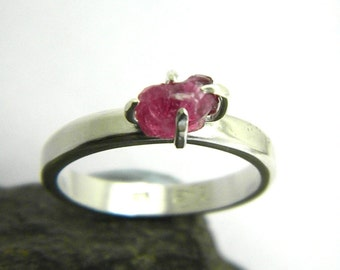 Raw ruby ring stone stacking ring sterling silver rough raw ruby stone stack ring, stack ruby ring, July birthstone, solitaire ring size 6.5