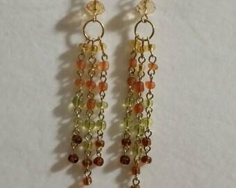 Yellow orange green brown chandelier earrings