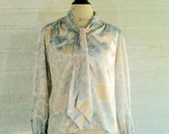 Vintage 80s Shiny SILVER Floral Secretary Shirt
