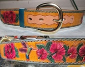 Custom belt , Ladies leather belt , hummingbirds and hibiscus belt , customized leather , tooled leather