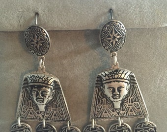 Egyptian Pharoah Silver Earrings Pierced Earrings Damascene Spain 1970s Deadstock Bohemian Hippie