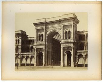 Galleria Vittorio Emanuele Ii, Milan - 19th Century Albumen Photograph