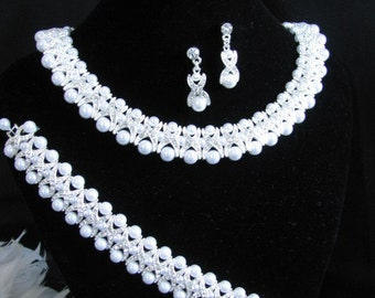 4 piece Statement Wedding Necklace in  silver tone and White Pearl Great Bridal Wedding Jewelry Pageant Jewelry