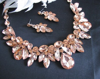 Sparkle Statement Wedding Necklace in Rose Gold Great Bridal Wedding Jewelry Pageant Jewelry Bridal Statement Necklace  Set, Vintage Style