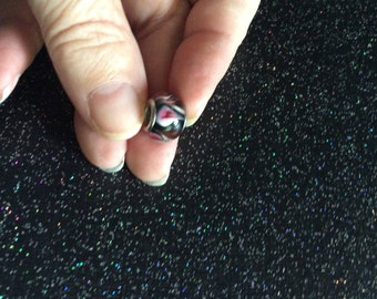 Glass Swirled Charm Bead spacer bead for use on charm bracelet EMTWTT  jewelry beading supplies charm