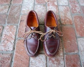 Vintage Mens 12 Timberland USA Laced Boat Deck Shoes Desert Boot Rich Burgundy Leather Top Sider Loafers Hamptons Sailing Moto Slip On Shoes