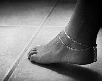 Double Chain Anklet Swarovski Crystal