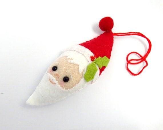 Santa head christmas ornament handmade felt