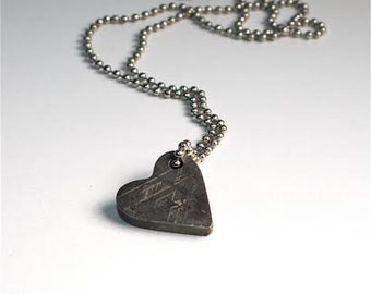 Meteorite Jewelry, Heart Necklace, Valentine Romance