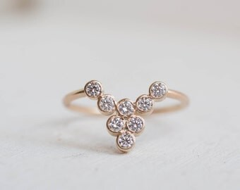 Diamond Waterfall Curve Ring | 14k Recycled Gold | Diamond Wedding Curve Band