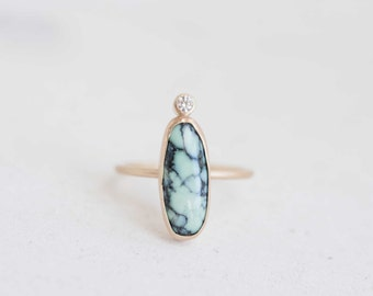 Prince  Mine Variscite + Diamond Accent Ring | 14k Recycled Gold | One of a Kind