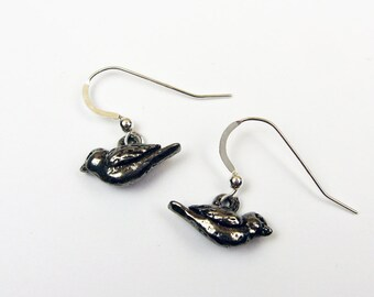 Tiny Bird Earrings - Cute Animal Jewelry with Small Birds in Pewter - Woodland, Nature Gift