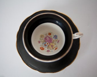 Tea Cup, Black Floral, English Bone China, Foley China