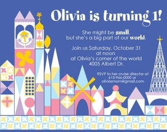 it's a small world birthday party invitation - printable 4x6 or 5x7